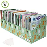 Evelots Magazine File Holder-Organizer-Full 4 Inch Wide-Cat Style-W/Labels-Set/6
