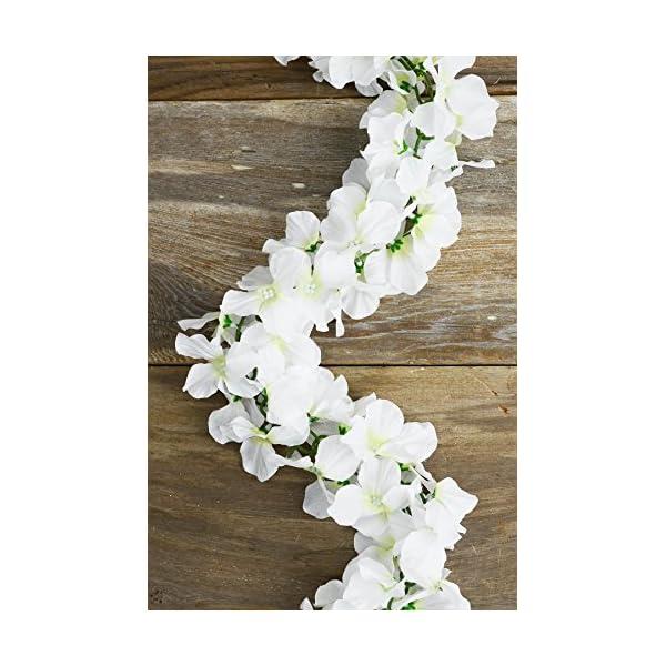 Richland White Silk Hydrangea Chained Garland Set of 6