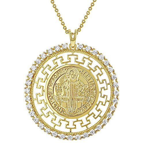 In Season Jewelry 18k Gold Plated Clear CZ St Saint Benedict Greek Key Medal Pendant for Women - Name Necklace Greek