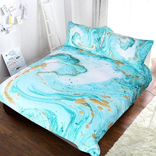 Blessliving Chic Girly Marble Duvet Cover Mint Gold Glitter Turquoise Bedding Comforter Set Abstract Aqua Teel Blue Duvet Cover (Twin)
