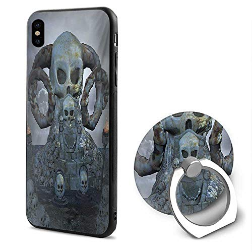 Skull iPhone x Cases,Spooky Scary Throne with Many Skulls Horns and Torches Graves Death Ghosts Theme Bluegrey Silver,Mobile Phone Shell Ring Bracket