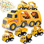 Toys for 1 2 3 4 5 6 Year Old Boys, Kids Toys Truck for Toddler Boys Girls, 5 in 1 Friction Power Construction