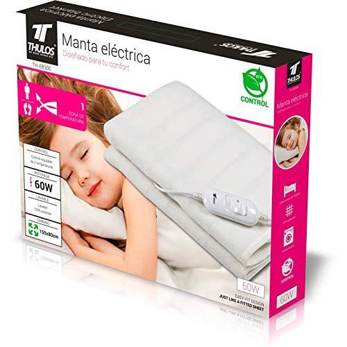 Manta eléctrica en color blanco, dimensiones :150x80cm lavable. 2 ajustes de temperatura. Potencia: 60W. THULOS TH-EB300.: Amazon.es: Salud y cuidado ...