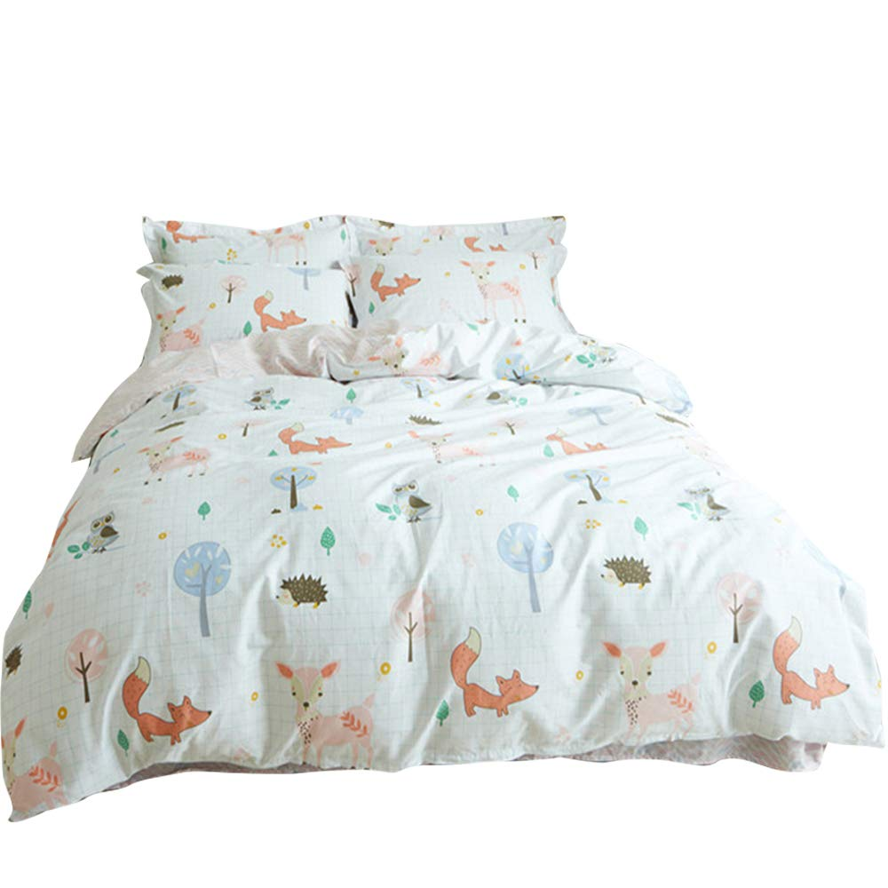 BuLuTu 100% Cotton Animal Bedding Duvet Cover Sets Queen White 3 Pieces Woodland Kids Bedding Sets Full for Boys Girls Zipper Closure with 4 Ties,1 Duvet Cover and 2 Pillowcases,90''x90''