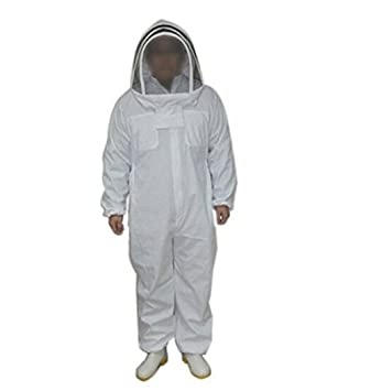 Professional Beekeeper Jumpsuit Suit Beekeeping Suit with Self Supporting Veil for Bee Keepers (XL, White)