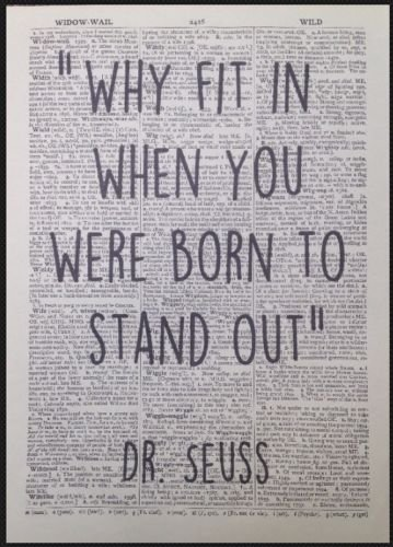 Dr Seuss Quote Print Vintage Dictionary Page Picture Wall Art Born To Stand Out homemade