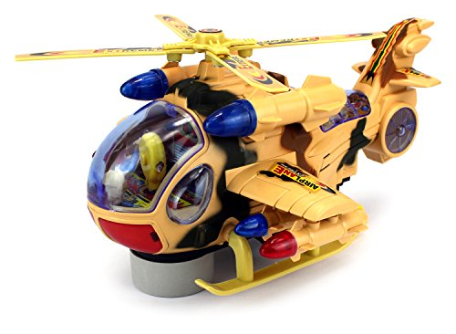 Fighter Copter Battery Operated Bump and Go Toy Helicopter w/ Flashing Lights, Sounds (Colors May Vary) (Go Helicopter)