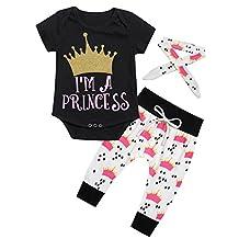 Gprince 3pcs Newborn Infant Baby Girls Romper+Pants+Headband Legging Home Outfits Set