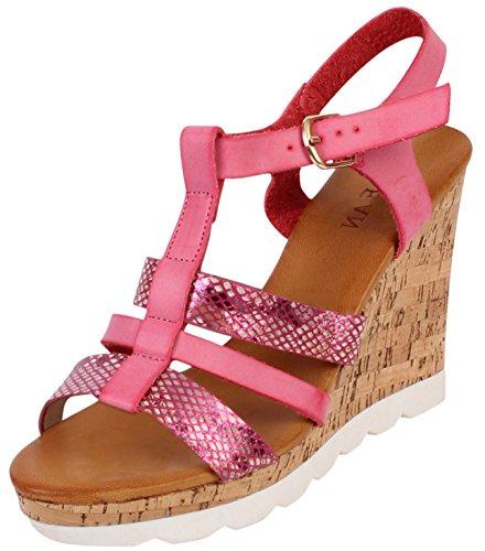 Kork Keilabsatz Damen Schuhe Sling, 38/Hotelslipper offen Sommer Sandalen Rose