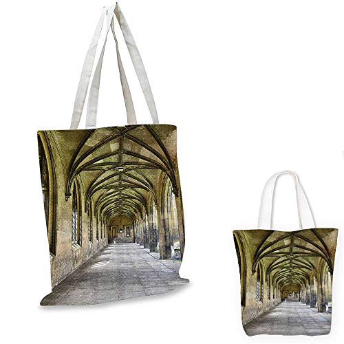 Apartment Decor Collection royal shopping bag Paved Stone Walkway with Gothic Arches Receding Into Distance Arched Windows Portals funny reusable shopping bag Charcoal. -