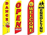 4 Swooper Flags Dance School Now Enrolling Welcome Open House Yellow Red Dancing