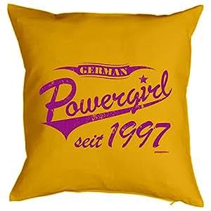 18º cumpleaños. Cojín con relleno–German Power Girl desde 1997–Un bonito regalo de 18ten.