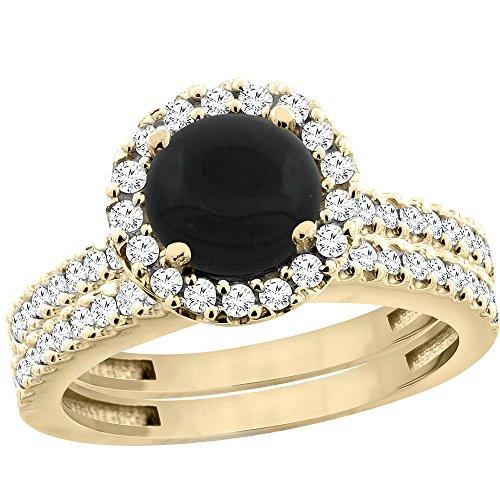 10K Yellow Gold Natural Black Onyx Round 6mm 2-Piece Engagement Ring Set Floating Halo Diamond, size 5.5
