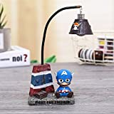 YOURNELO Cute Animals Cartoon Character Marvel Heroes Desk Ornaments Night Light Lamp for Gift (Captain America 1)