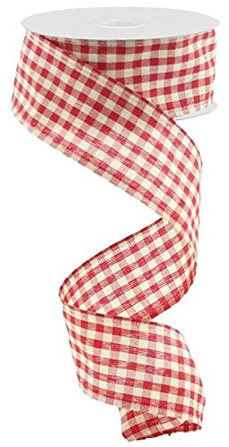 Primitive Gingham Check Wired Edge Ribbon, 10 Yards (Red, Beige, 1.5