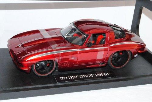 Chevrolet Corvette C2 Sting Ray Rot Metallic Metallic Metallic Coupe 1962-1967 1/18 Jada Modell Auto fc7d4a
