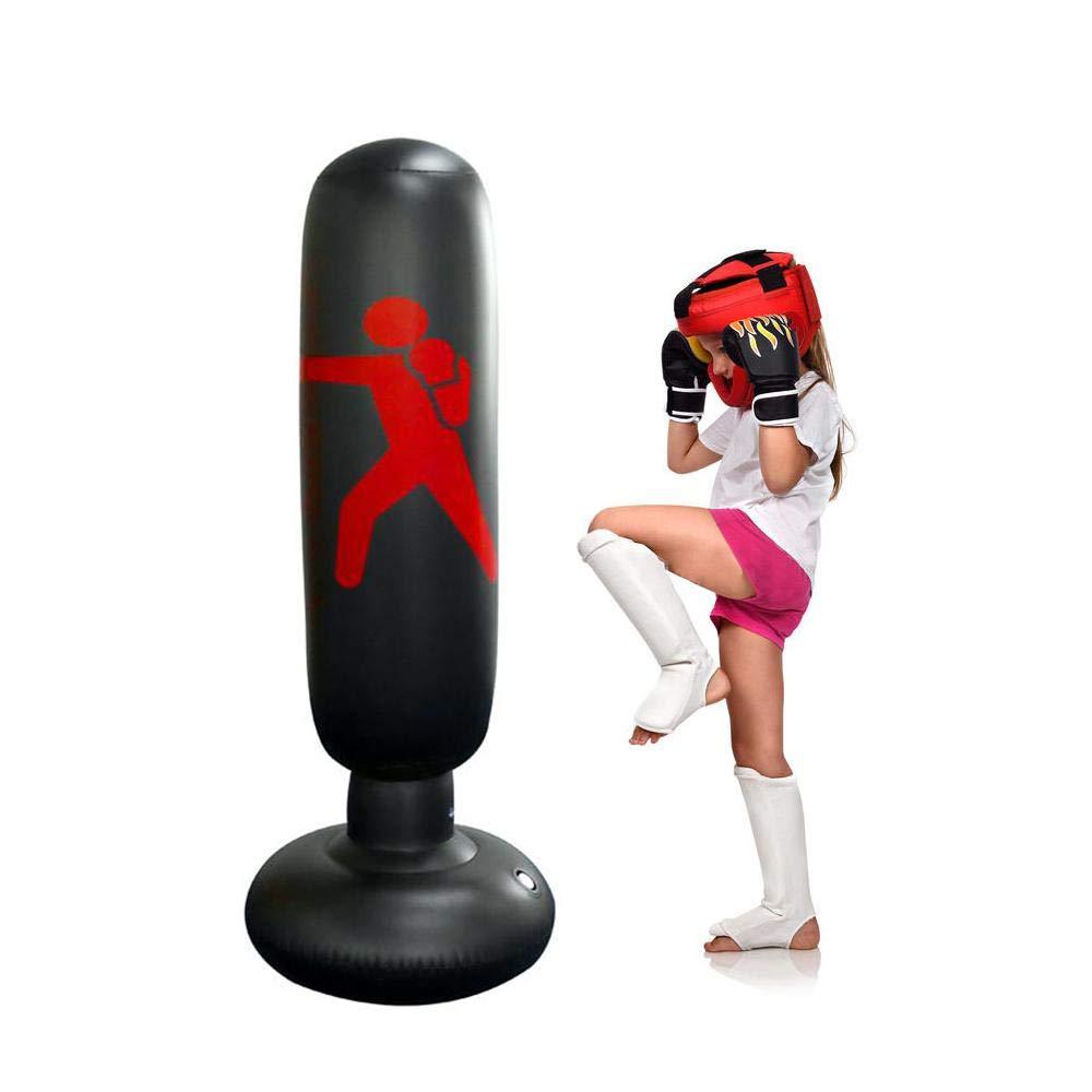 Columna de Boxeo Inflable para Adulto y Ni/ños Base Extra Gruesa Que no Cae al Suelo Hamkaw Saco de Boxeo Hinchable Altura Ajustable 80-160cm Ni/ños Fitness Juego y Adultos De-Stress Boxing Target