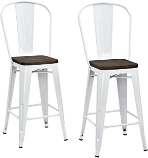 DHP Luxor Metal Counter Stool with Wood Seat and Backrest Set of two 24  sc 1 st  Amazon.com & Amazon.com: Flash Furniture 4 Pk. 24u0027u0027 High Distressed White Metal ... islam-shia.org