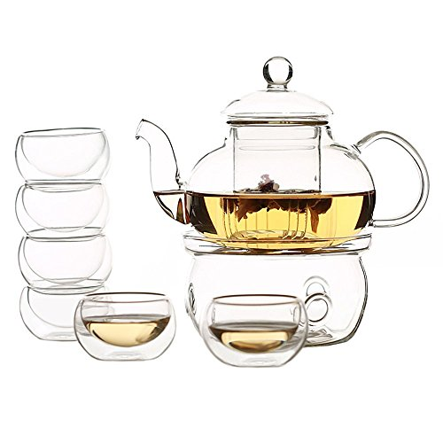 Zen Room 22oz Lead Free Heat Resistant Borosilicate Glass Tea Pot with Infuser, Warmer and 6 Double Walled Borosilicate Glass Tea Cups 2oz/ Dishwasher Safe - Handle Double Teapot