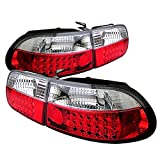 94 honda civic clear taillights - 1992-1995 Civic 3Dr Hatchback JDM Style Red Clear LED Tail Lights Brake Lamp W/Trunk Piece