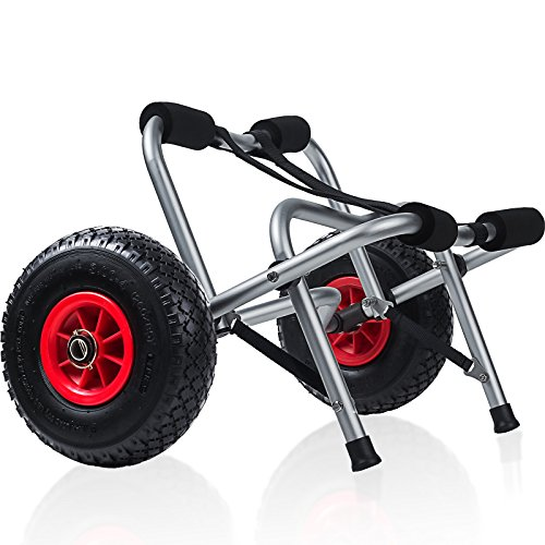 Kayak Cart Dolly Wheels Trolley - Kayaking Accessories Best for Beach Tires Transport Canoe Fishing Jon Boat Carrier Caddy Scupper Carts Trolly Roller Sit on Top Kayaks Wagon Wheel Hauler ()