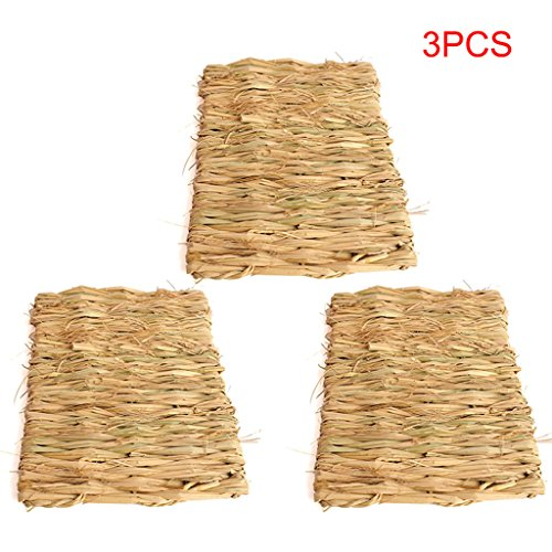 3Pcs Natural Seagrass Mat Handmade Woven Mat Chew Mat Toy Bed for Hamsters Rabbits Parrots