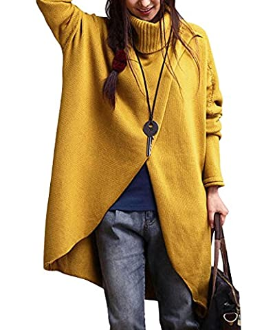Gikim Women's Casual Plus Size Long Sleeve Chic Loose Knit Turtleneck Pullover Sweater Yellow M - Split Turtleneck Sweater