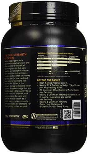 Optimum Nutrition Gold Standard 100 Micellar Casein Protein Powder, Slow Digesting, Helps Keep You Full, Overnight Muscle Recovery, Creamy Vanilla, 4 Pound Packaging May Vary