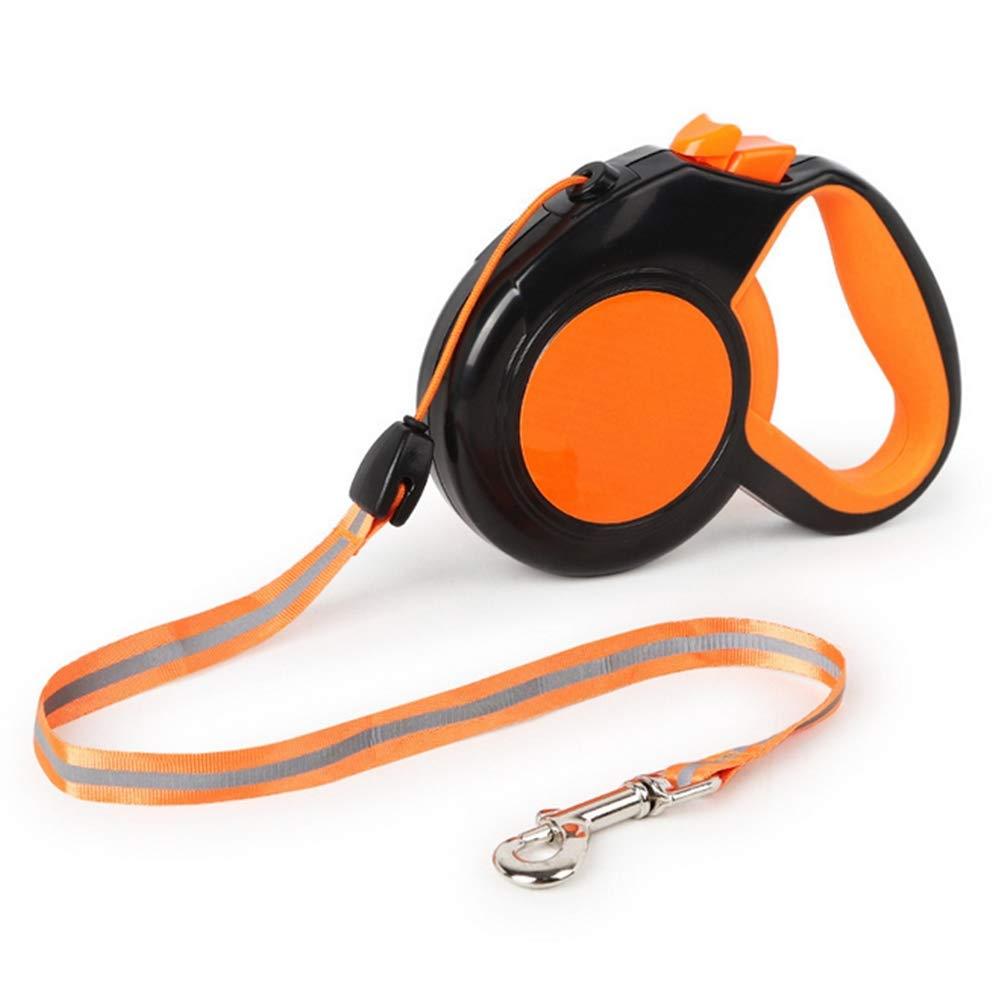 orange 3M orange 3M Dog Retractable Leads Reflective Extendable Comfortable Ergonomic Hand Grip Nylon Material Tangle Free Design Retractable Extensive 3 5M Leash