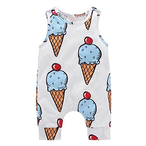 Chinatera Baby Boys Girls Summer Rompers One-Piece Sleeveless Jumpsuit Cartoon Ice-Cream Prints