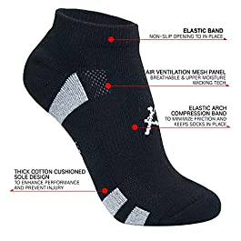 KONY Women's 6 Pairs Thick Cotton Cushioned Low Cut Ankle Athletic Socks Air-cross Mesh No Show Running Socks, Size 6-9