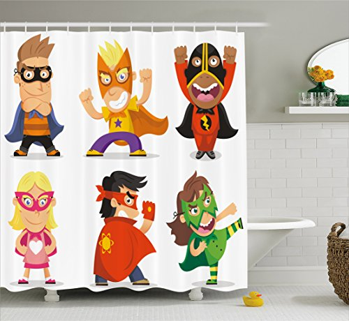 Superhero Shower Curtain by Ambesonne, Children Dressed as Superheroes Kids Playroom Girls Boys Nursery Babyish Picture, Fabric Bathroom Decor Set with Hooks, 70 Inches, Multicolor