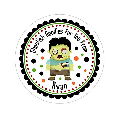 Personalized Customized Halloween Party Favor Thank You Stickers - Zombie - Round Labels - Choose Your Size -