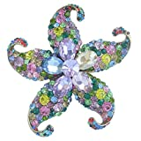 Sindary Charming 3.15'' Austrian Crystal Starfish Brooch Pin Pendant BZ4824 (Gold-Tone Multicolor)