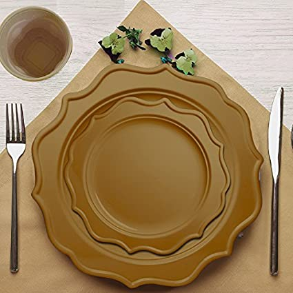 Tiger Chef 96 Pack Round Scalloped Rim Disposable Plastic Plate Set for 48 Guests Includes 48 10-Inch Dinner Plates 48 8-Inch Salad Plates BPA-Free