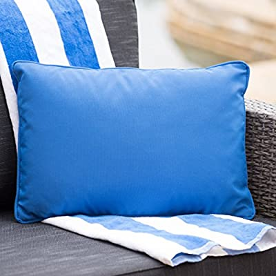 Corona Outdoor Rectangular Water Resistant Pillow(s) (1, Blue) - Add some color to your patio set with this coronado water resistant outdoor pillow by Christopher Knight Home Manufactured in China No assembly required! open and enjoy - patio, outdoor-throw-pillows, outdoor-decor - 51shbsFZ0WL. SS400  -