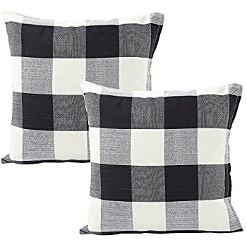 Foucome Country Style Cotton Linen Buffalo Pillow Case Black & White Check Car Bed Sofa Throw Pillow Covers Waist Home Decor Cushion Covers,24