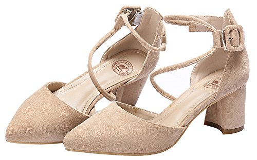 Straps Elegant Heel Ankle Pumps 617 �� With Camel Women's Crown Classic Beige Toe Block Chunky Pointy D'orsay Adjustable wUxq6A84