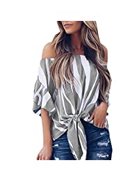 Abuyall Women Stripe Off Shoulder Shirt Tie Knot Casual Sexy Blouse Tops