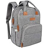 Baby Diaper Bag Backpack for Mom, HOKEKI Large Multifunction Travel Nappy Bags Backpack Organizer,Waterproof and Stylish, Gray