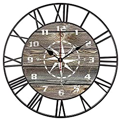 EnjoyHome Authentic Looking Wood Rustic Nautical Compass Large Iron Metal Wall Clock Indoor Silent Battery Operated Metal Clock for Home Decor 16 Inches