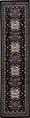 (Classic Traditional Geometric Persian Design Area rugs Black 2' 7 x 10' Qashqai Heriz rug)