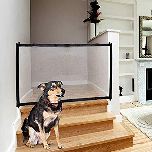 Magic Gate for Dog & Pets, Lightweight Foldable Portable Mesh Safety Enclosure Fence Guard, for Doorway Hallway Stairwell Outdoor Indoor Anywhere