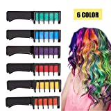 Kyerivs Hair Chalk Comb Temporary Hair Color Dye For Kid Girls Party and Cosplay DIY Festival Dress up Works on All Hair Colors Washable Black Handle Mini 6PCS