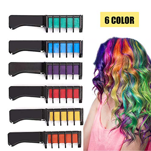 Kyerivs Hair Chalk Comb Temporary Hair Color Dye For Kid Girls Party and Cosplay DIY Festival Dress up Works on All Hair Colors Washable Black Handle Mini 6PCS by Kyerivs