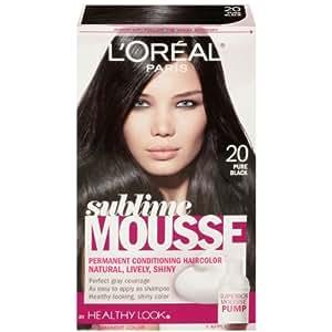 L'Oreal Paris Sublime Mousse by Healthy Look Hair Color, 20 Pure Black