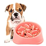 pink slow feed dog bowl - Slow Feeder Bowl, DotPet Fun Interactive Feeder Bloat Stop Dog Bowl Preventing Feeder Anti Gulping Drink Water Bowl Fan Shape Healthy Eating Diet For Puppy Dog Pet (Pink)