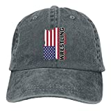 AJG25_ids Baseball Cap for Men and Women, USA Flag Wrestling-2 Men's Cotton Adjustable Jeans Cap Hat