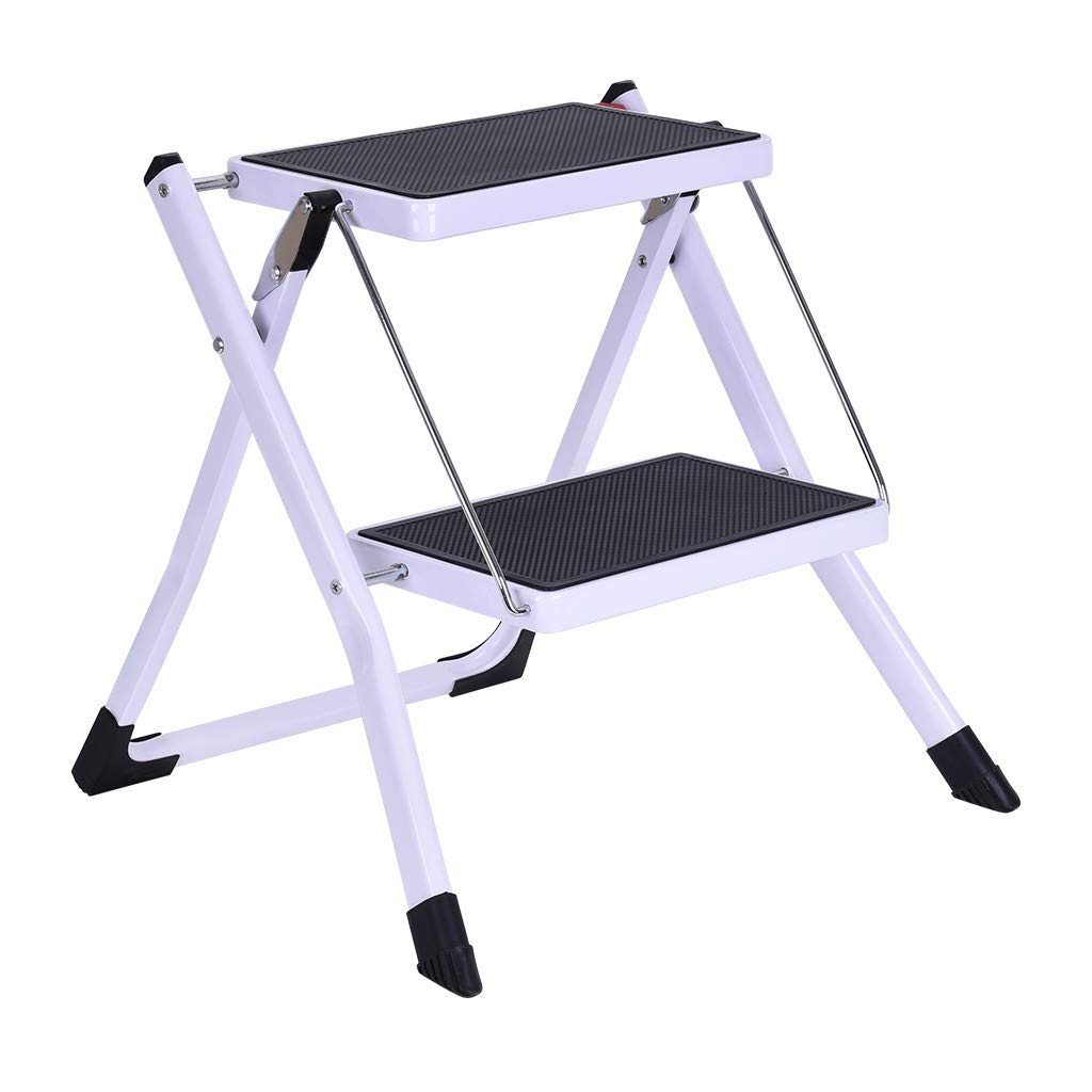 2 Step Ladder Folding Step Stool Ladder with Handgrip, Sturdy Heavy Duty Step Ladder Anti-Slip Solid and Wide Pedal Multi-Use for Household and Office Portable Step Stool Steel 330lbs (No Handle) by MaiKaili-home Fast logistics 5-7 days to arrive