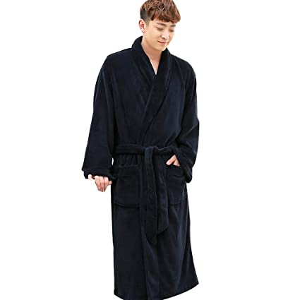 HONGNA Pijamas De Invierno Franela para Hombre Pijamas con Relleno De Grasa Pijama Largo Bata De
